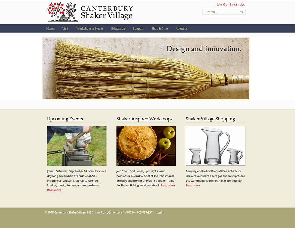 Canterbury Shaker Village Website